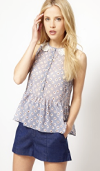 daisy print button front top